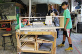 Campers in Walkers Woodshop